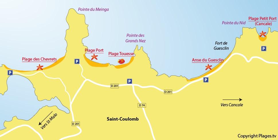 Carte plages saint coulomb bretagne