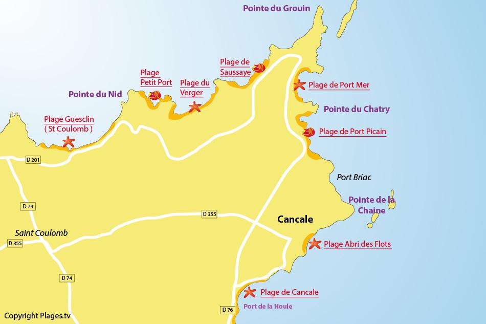 Plan plages cancale bretagne