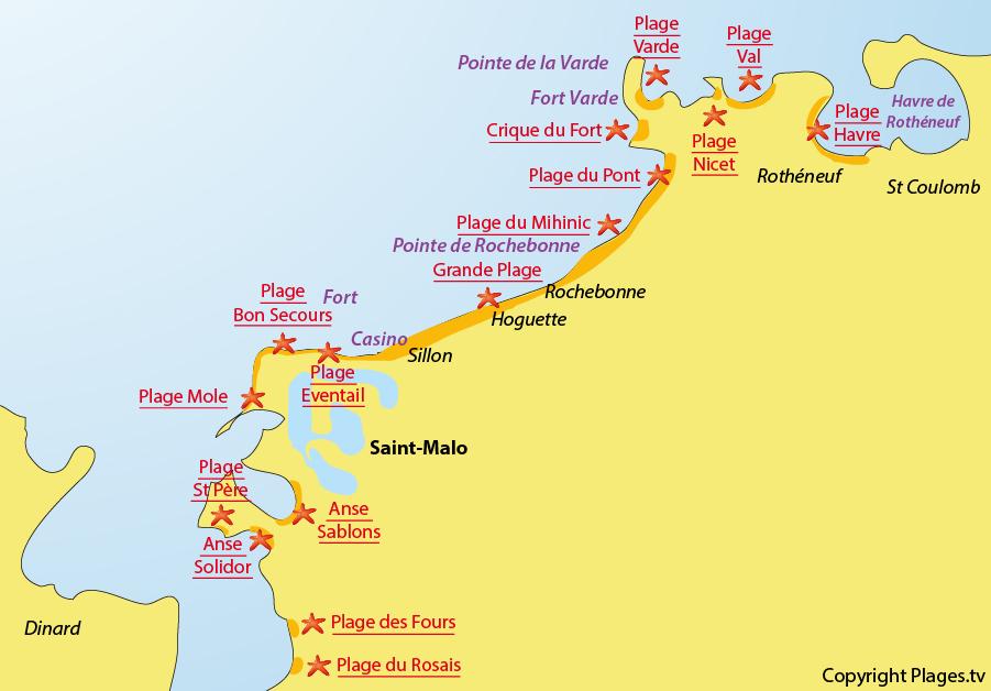 Plan plages saint malo bretagne