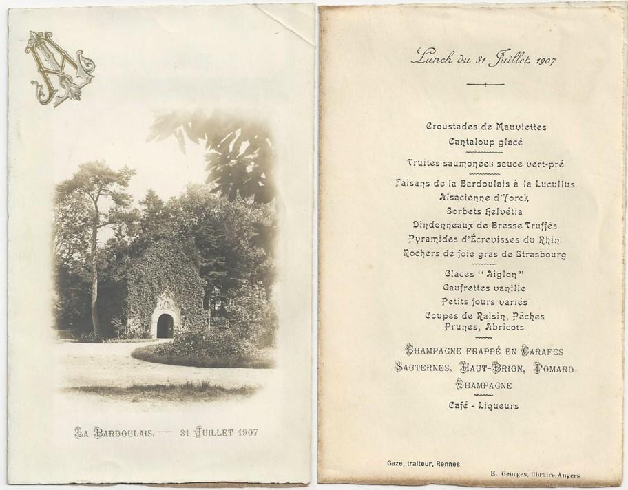 Menu de mariage aubry lefebvre en 1907