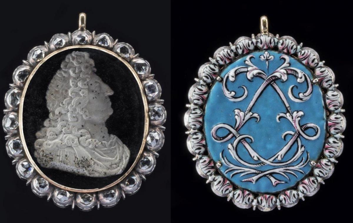 Portrait louis xiv orne de diamants offert a alain poree 1
